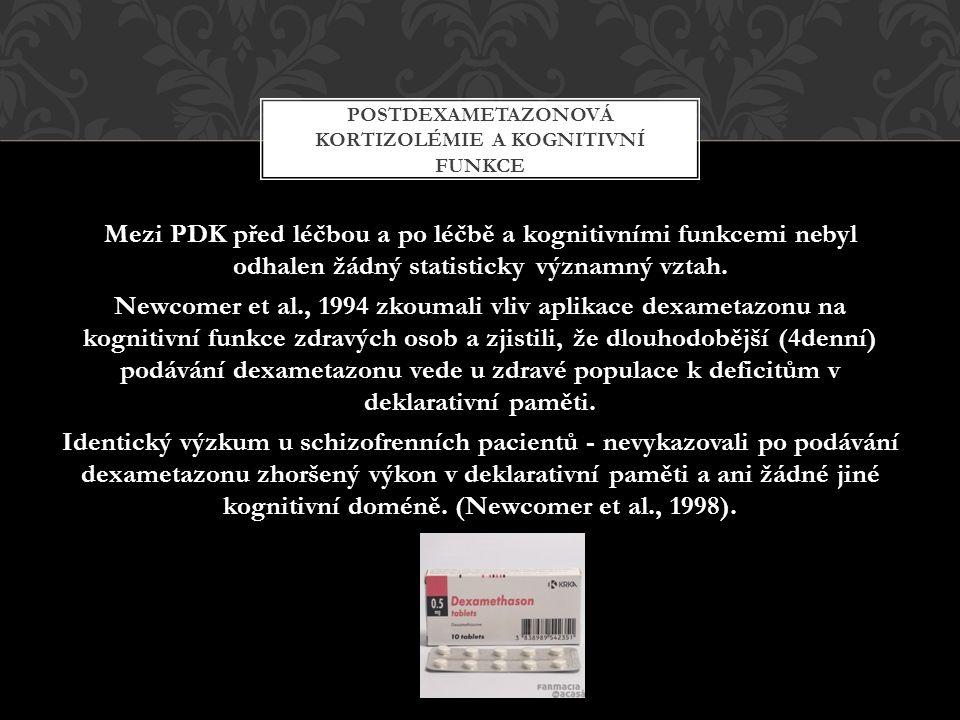 Mezi PDK před léčbou a po léčbě a kognitivními funkcemi nebyl odhalen žádný statisticky významný vztah.