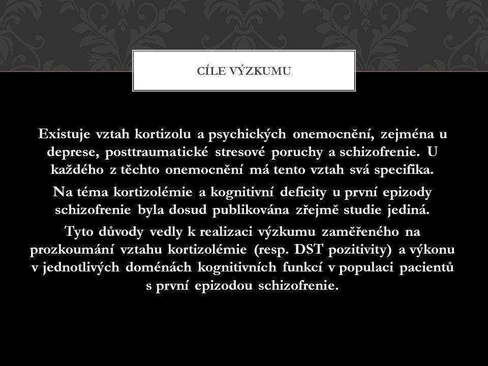 Do výzkumu byli zařazeni pacienti (23 mužů s dg První epizody schizofrenie) přijatí na Psychiatrickou kliniku Lékařské fakulty Masarykovy univerzity a Fakultní nemocnice Brno.