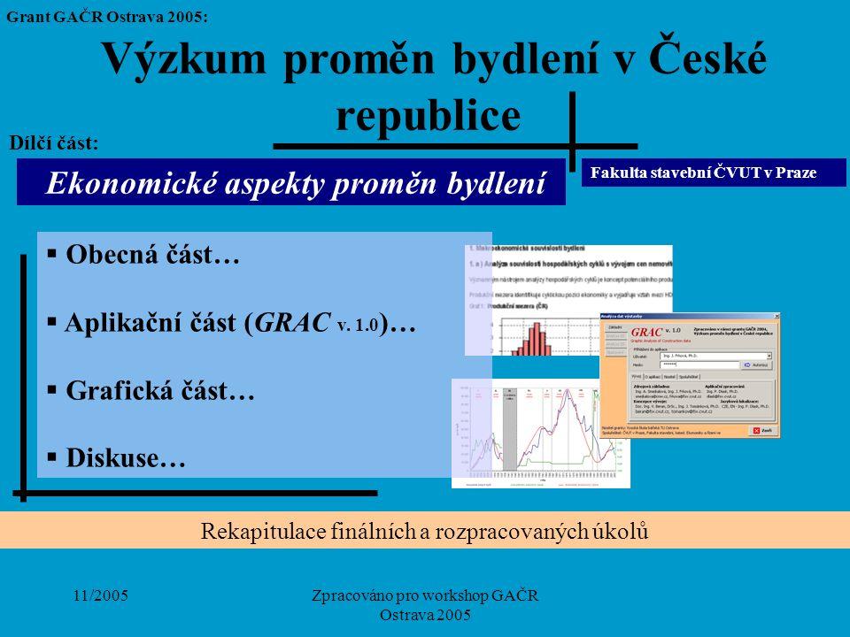 11/2005Zpracováno pro workshop GAČR Ostrava 2005  Obecná část…  Aplikační část (GRAC v. 1.0 )…  Grafická část…  Diskuse… Výzkum proměn bydlení v Č