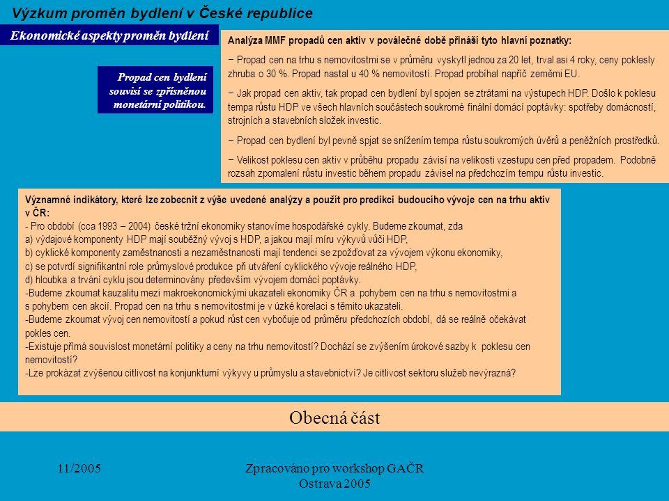 11/2005Zpracováno pro workshop GAČR Ostrava 2005 Obecná část Ekonomické aspekty proměn bydlení Výzkum proměn bydlení v České republice Analýza MMF pro