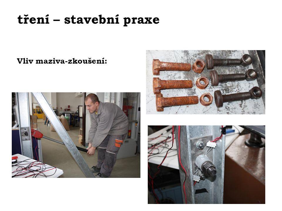 tření – stavební praxe Vliv maziva-zkoušení:
