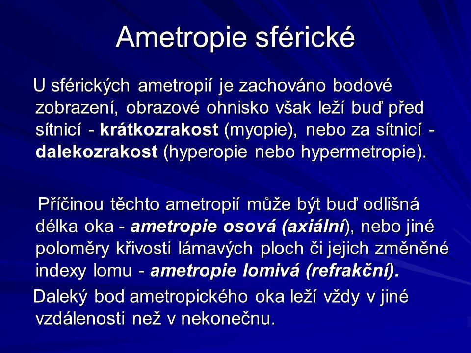 Ametropie sférické U sférických ametropií je zachováno bodové zobrazení, obrazové ohnisko však leží buď před sítnicí - krátkozrakost (myopie), nebo za sítnicí - dalekozrakost (hyperopie nebo hypermetropie).