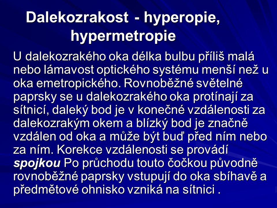 Dalekozrakost - hyperopie, hypermetropie U dalekozrakého oka délka bulbu příliš malá nebo lámavost optického systému menší než u oka emetropického.