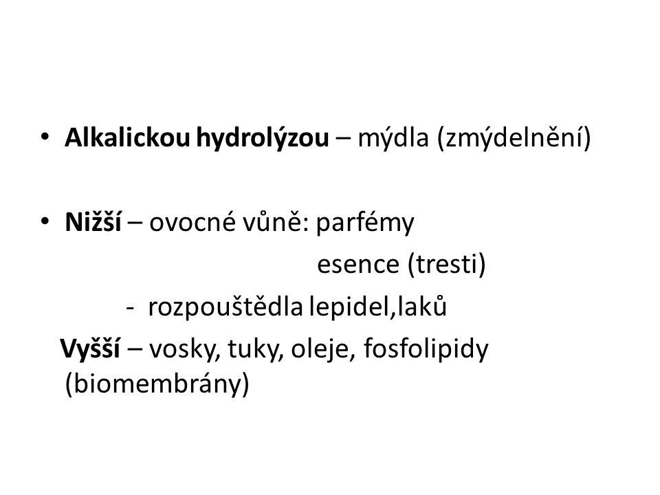 Alkalickou hydrolýzou – mýdla (zmýdelnění) Nižší – ovocné vůně: parfémy esence (tresti) - rozpouštědla lepidel,laků Vyšší – vosky, tuky, oleje, fosfol