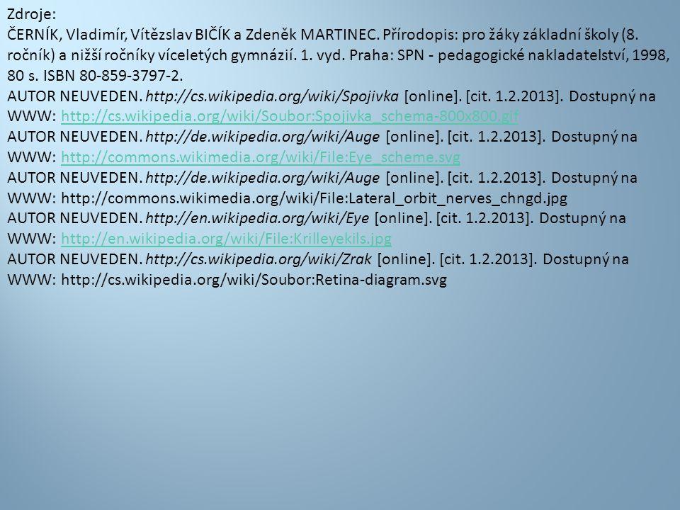 Zdroje: ČERNÍK, Vladimír, Vítězslav BIČÍK a Zdeněk MARTINEC. Přírodopis: pro žáky základní školy (8. ročník) a nižší ročníky víceletých gymnázií. 1. v