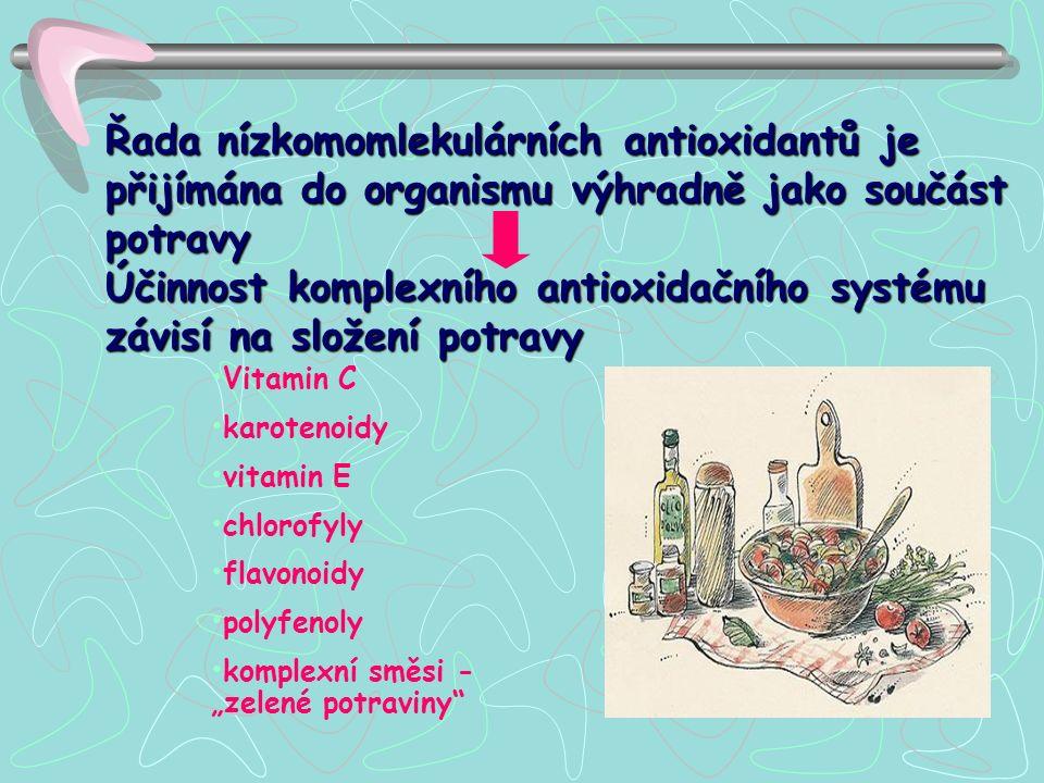 """Řada nízkomomlekulárních antioxidantů je přijímána do organismu výhradně jako součást potravy Účinnost komplexního antioxidačního systému závisí na složení potravy Vitamin C karotenoidy vitamin E chlorofyly flavonoidy polyfenoly komplexní směsi - """"zelené potraviny"""