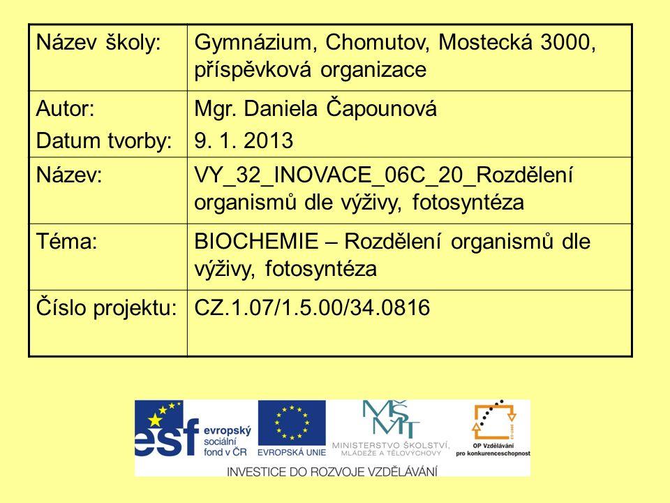 """ANOTACE Materiál obsahuje výkladovou prezentaci k tématům """"Typy výživy organismů a """"Fotosyntéza ."""