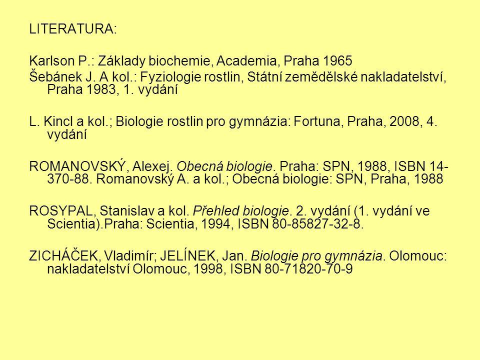 LITERATURA: Karlson P.: Základy biochemie, Academia, Praha 1965 Šebánek J. A kol.: Fyziologie rostlin, Státní zemědělské nakladatelství, Praha 1983, 1