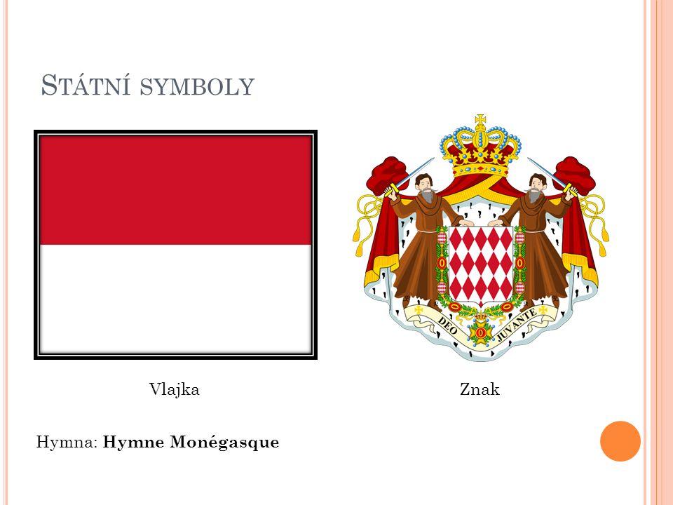 S TÁTNÍ SYMBOLY VlajkaZnak Hymna: Hymne Monégasque