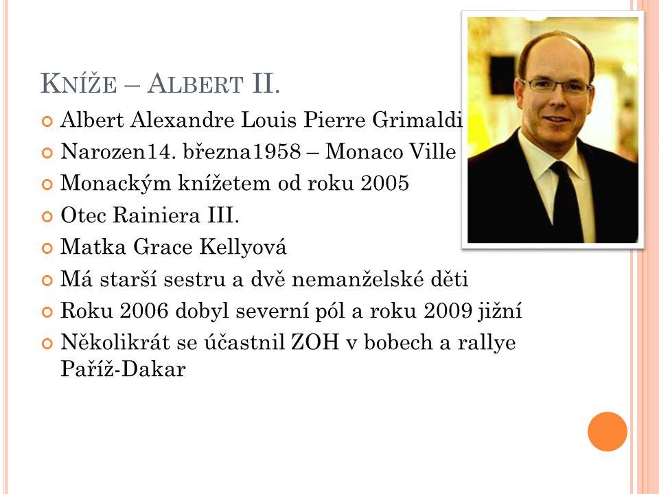 K NÍŽE – A LBERT II. Albert Alexandre Louis Pierre Grimaldi Narozen14.