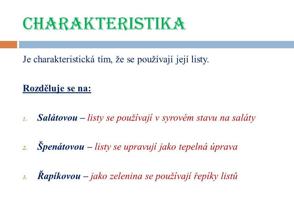 CHARAKTERISTIKA Je charakteristická tím, že se používají její listy.