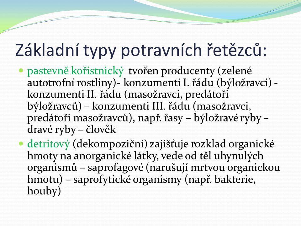 parazitický vede od hostitele k parazitovi (a následně k parazitům dalších řádů) fytofág - živočich se živí rostlinami zoofág – živočich konzumuje živé živočichy saprofág (hrobařík) – živí se rozkládajícími se těly uhynulých organismů koprofág(chrobák) – živí se výkaly jiných živočichů nekrofág (hyena) – konzumuje mrtvá těla