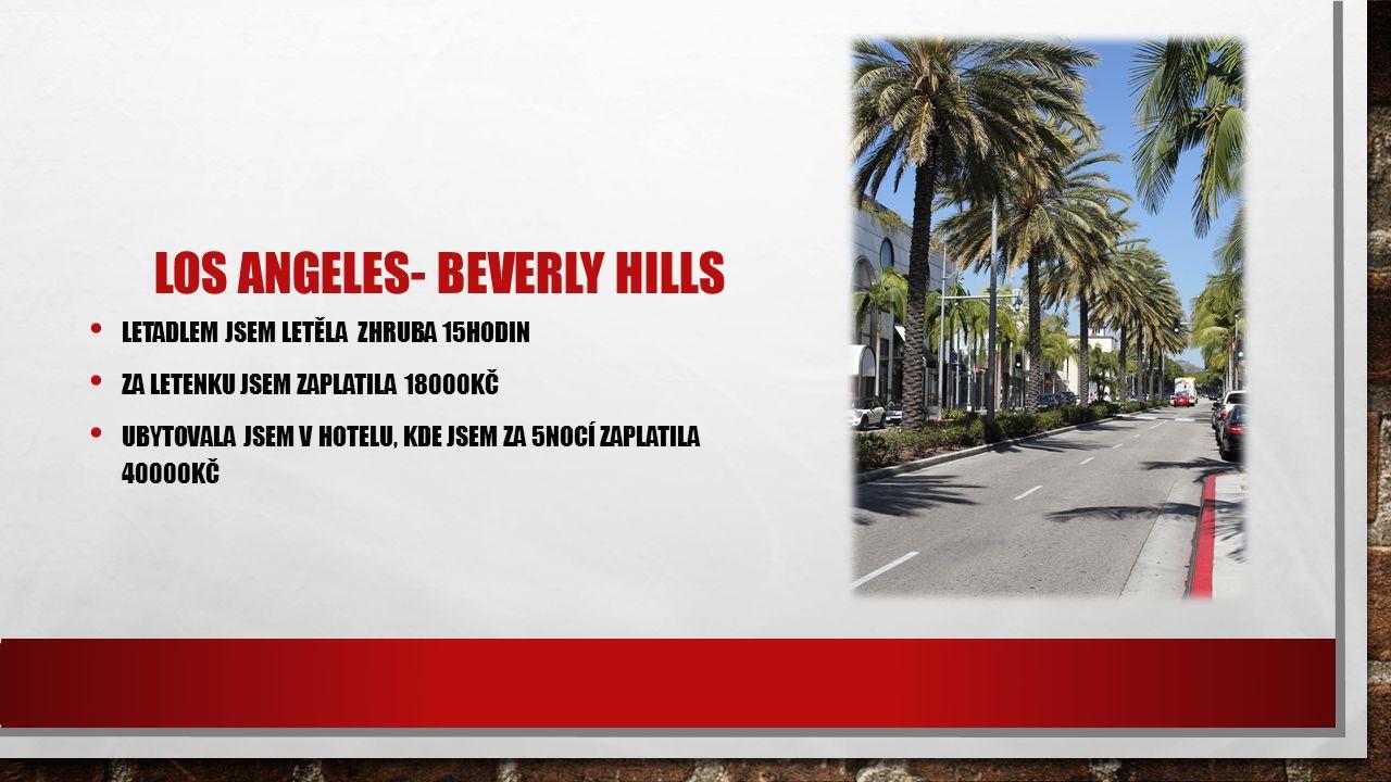 LOS ANGELES- BEVERLY HILLS LETADLEM JSEM LETĚLA ZHRUBA 15HODIN ZA LETENKU JSEM ZAPLATILA 18000KČ UBYTOVALA JSEM V HOTELU, KDE JSEM ZA 5NOCÍ ZAPLATILA 40000KČ