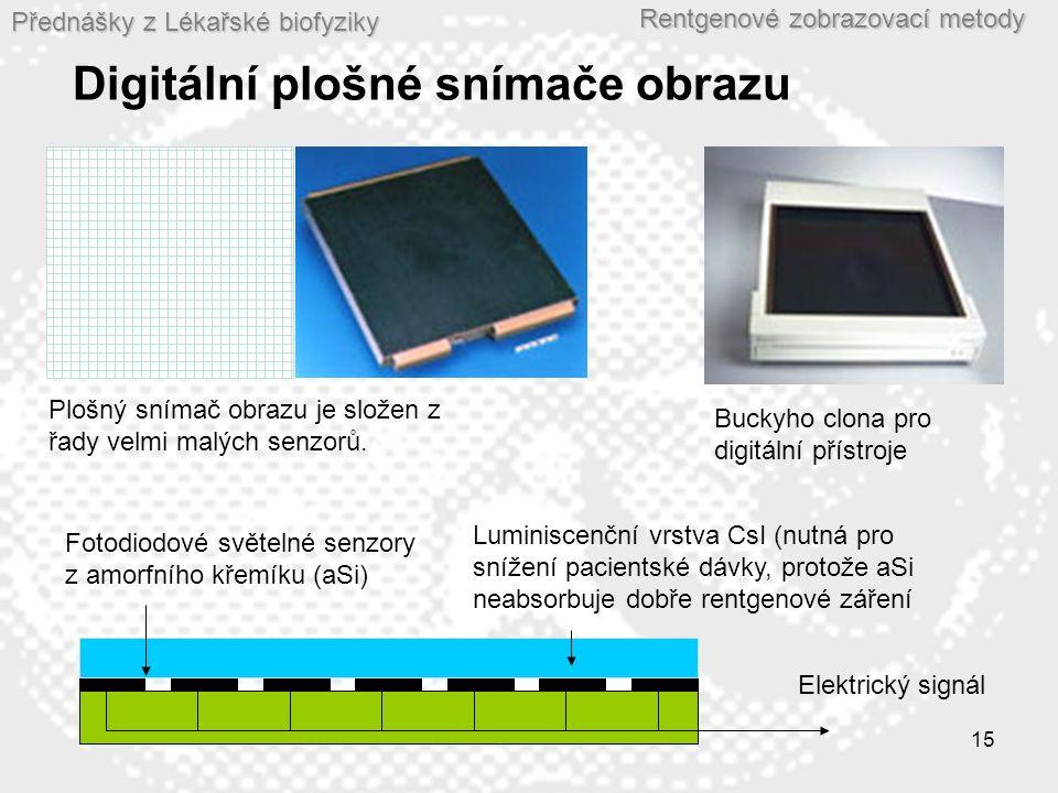 Přednášky z Lékařské biofyziky Rentgenové zobrazovací metody 15 Digitální plošné snímače obrazu Fotodiodové světelné senzory z amorfního křemíku (aSi) Plošný snímač obrazu je složen z řady velmi malých senzorů.