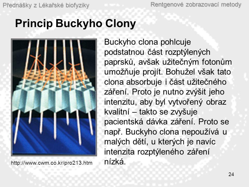 Přednášky z Lékařské biofyziky Rentgenové zobrazovací metody 24 Princip Buckyho Clony http://www.cwm.co.kr/pro213.htm Buckyho clona pohlcuje podstatnou část rozptýlených paprsků, avšak užitečným fotonům umožňuje projít.