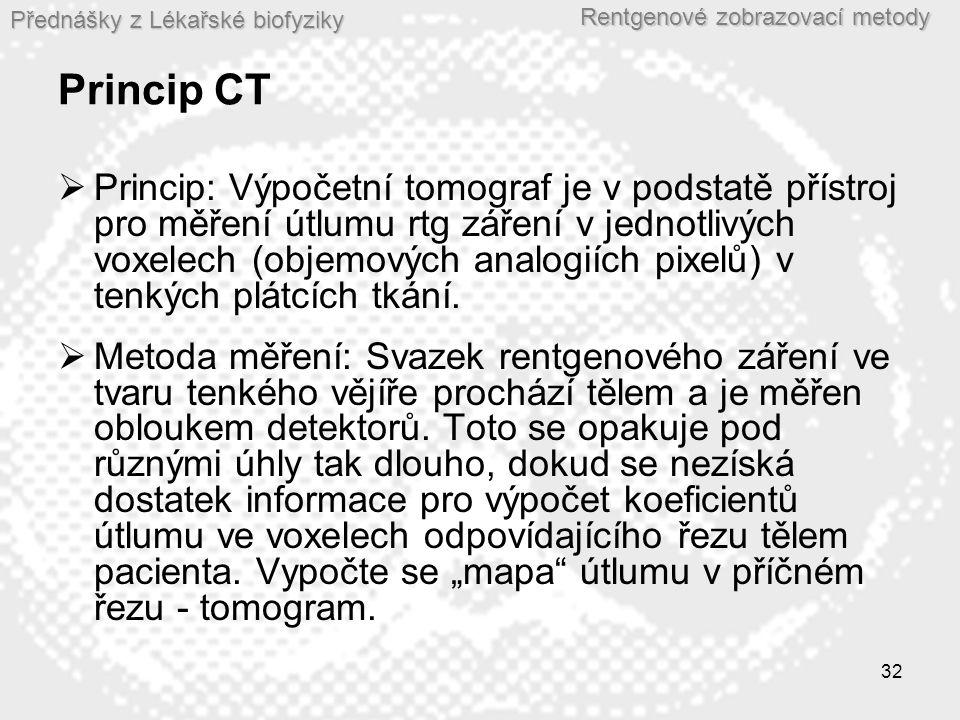 Přednášky z Lékařské biofyziky Rentgenové zobrazovací metody 32 Princip CT  Princip: Výpočetní tomograf je v podstatě přístroj pro měření útlumu rtg
