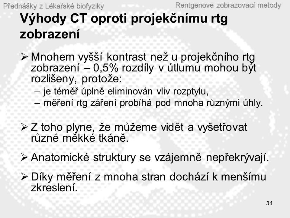 Přednášky z Lékařské biofyziky Rentgenové zobrazovací metody 34 Výhody CT oproti projekčnímu rtg zobrazení  Mnohem vyšší kontrast než u projekčního r