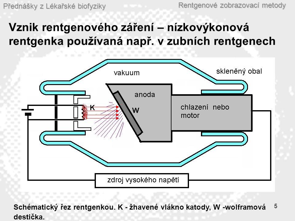Přednášky z Lékařské biofyziky Rentgenové zobrazovací metody 5 Vznik rentgenového záření – nízkovýkonová rentgenka používaná např. v zubních rentgenec
