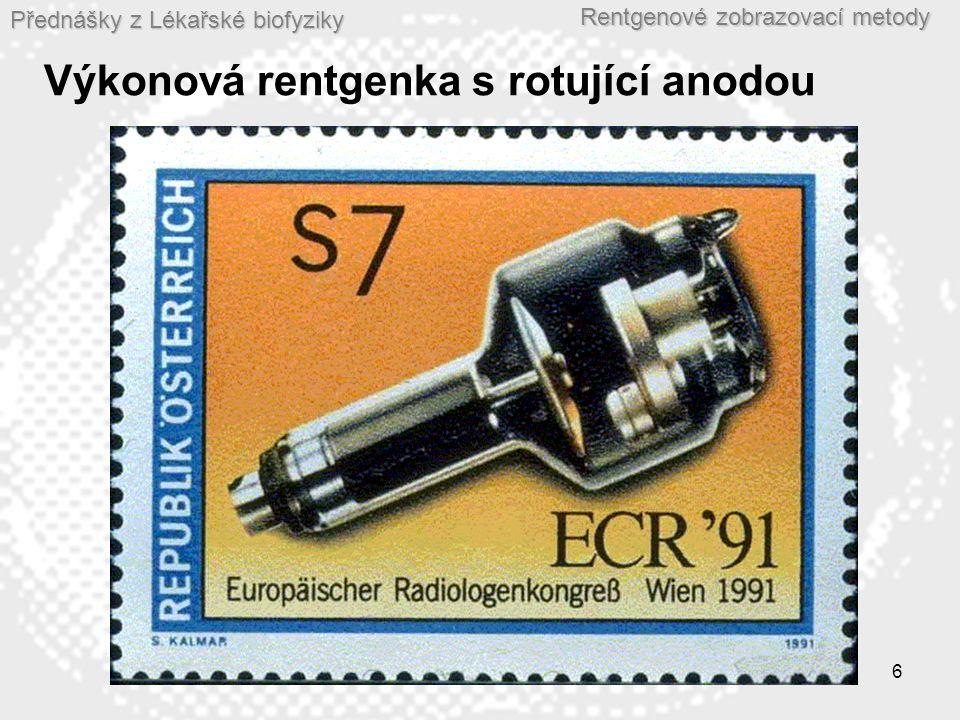 Přednášky z Lékařské biofyziky Rentgenové zobrazovací metody 7 Vznik rentgenového záření  Elektron s elektrickým nábojem e (1,602.10 -19 C) v elektrostatickém poli o napětí U (v tomto případě napětí mezi anodou a katodou) má potenciální energii E p : E p = U.e  V okamžiku těsně před dopadem elektronu na anodu je jeho potenciální energie E p zcela transformována v jeho kinetickou energii E K.
