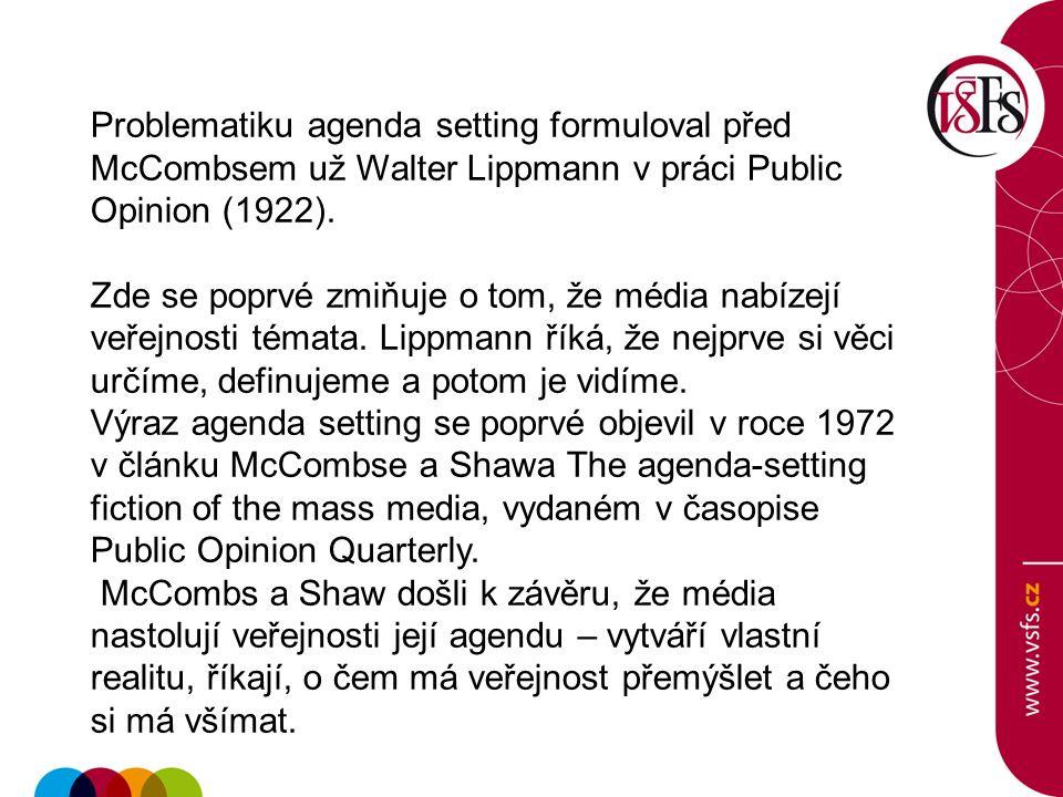 Problematiku agenda setting formuloval před McCombsem už Walter Lippmann v práci Public Opinion (1922).