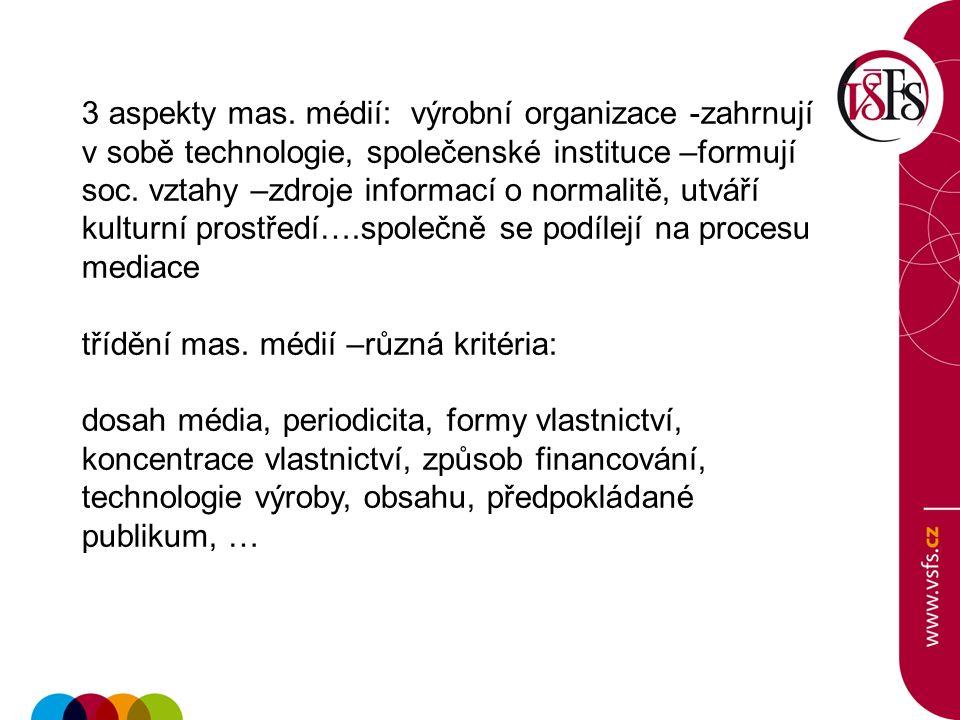 3 aspekty mas. médií: výrobní organizace -zahrnují v sobě technologie, společenské instituce –formují soc. vztahy –zdroje informací o normalitě, utvář