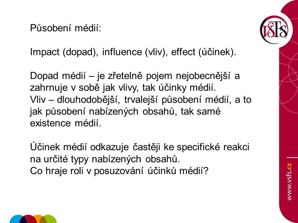 Působení médií: Impact (dopad), influence (vliv), effect (účinek).