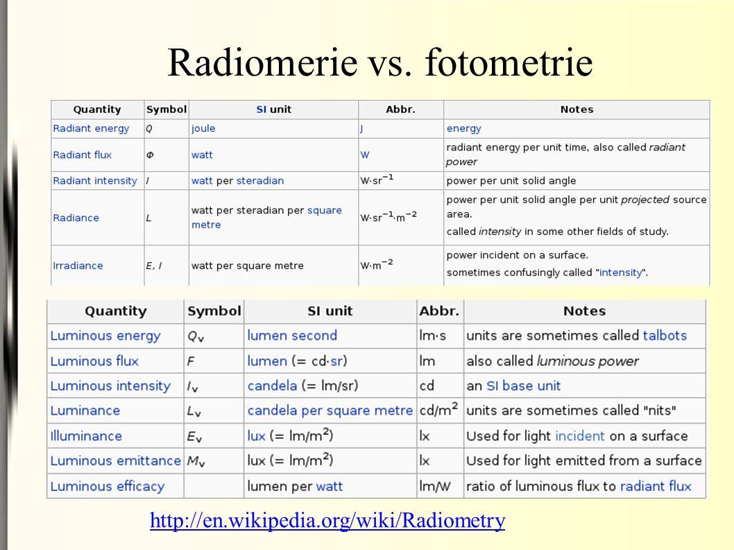 Radiomerie vs. fotometrie http://en.wikipedia.org/wiki/Radiometry