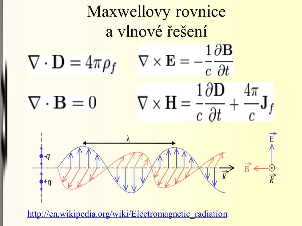 Maxwellovy rovnice a vlnové řešení http://en.wikipedia.org/wiki/Electromagnetic_radiation
