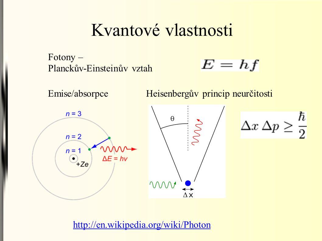 Kvantové vlastnosti Fotony – Planckův-Einsteinův vztah Emise/absorpceHeisenbergův princip neurčitosti http://en.wikipedia.org/wiki/Photon