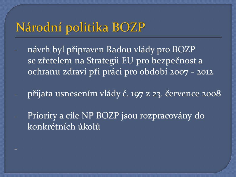 Národní politika BOZP - návrh byl připraven Radou vlády pro BOZP se zřetelem na Strategii EU pro bezpečnost a ochranu zdraví při práci pro období 2007 - 2012 - přijata usnesením vlády č.