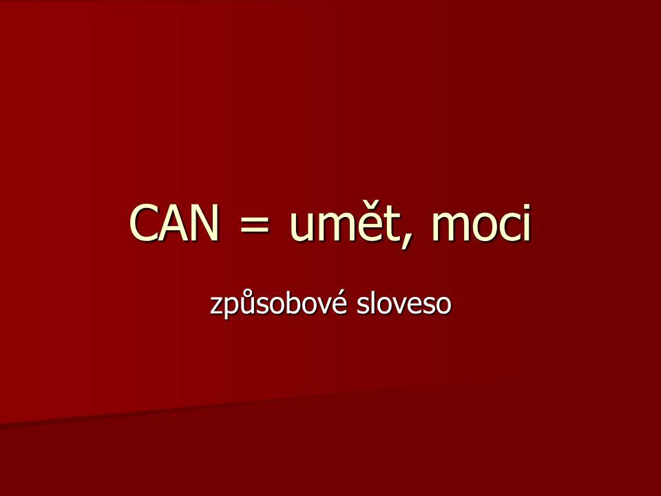 CAN = umět, moci způsobové sloveso