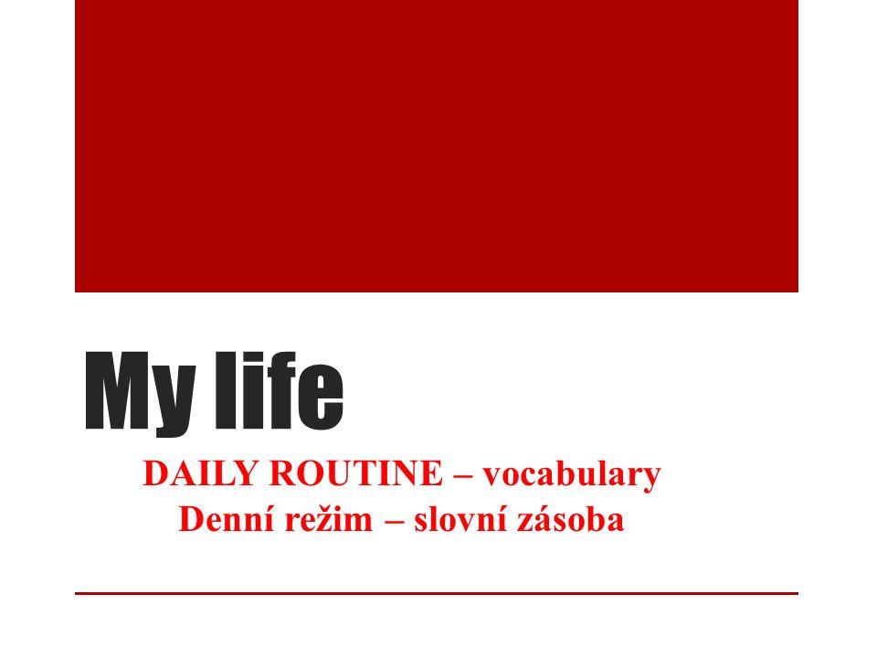 My life DAILY ROUTINE – vocabulary Denní režim – slovní zásoba