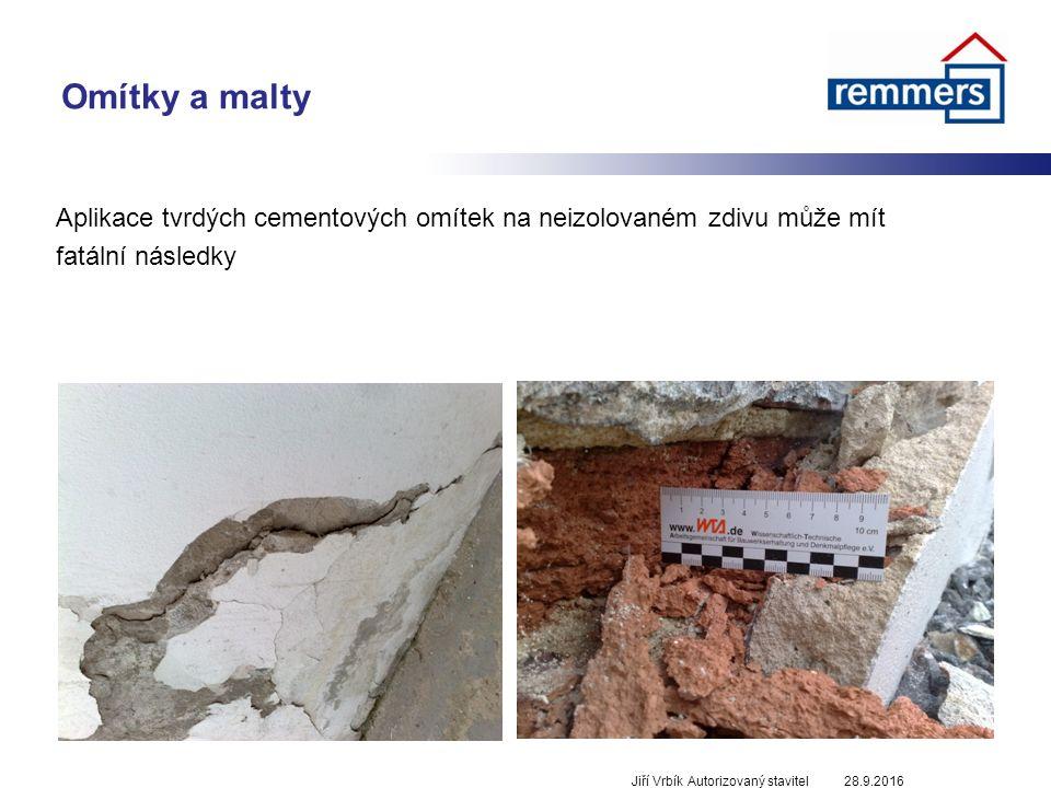 Omítky a malty Aplikace tvrdých cementových omítek na neizolovaném zdivu může mít fatální následky 28.9.2016Jiří Vrbík Autorizovaný stavitel