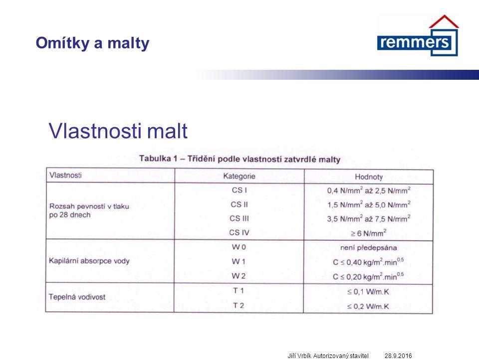 Omítky a malty 28.9.2016Jiří Vrbík Autorizovaný stavitel Vlastnosti malt