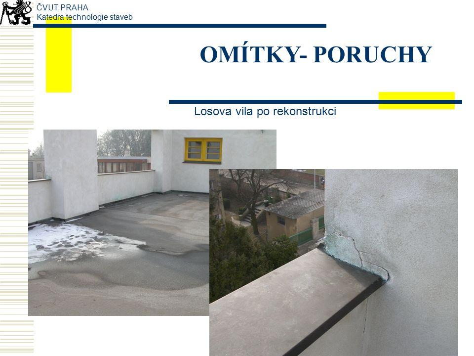 OMÍTKY- PORUCHY tvorba trhlin v místě okenních otvorů ČVUT PRAHA Katedra technologie staveb