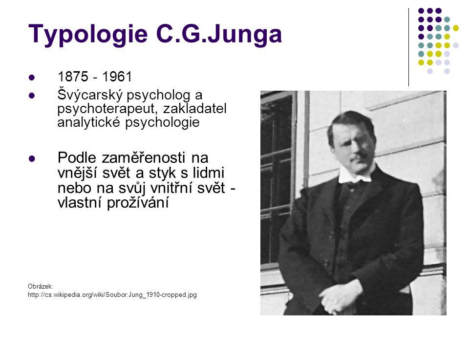 Typologie C.G.Junga 1875 - 1961 Švýcarský psycholog a psychoterapeut, zakladatel analytické psychologie Podle zaměřenosti na vnější svět a styk s lidmi nebo na svůj vnitřní svět - vlastní prožívání Obrázek: http://cs.wikipedia.org/wiki/Soubor:Jung_1910-cropped.jpg