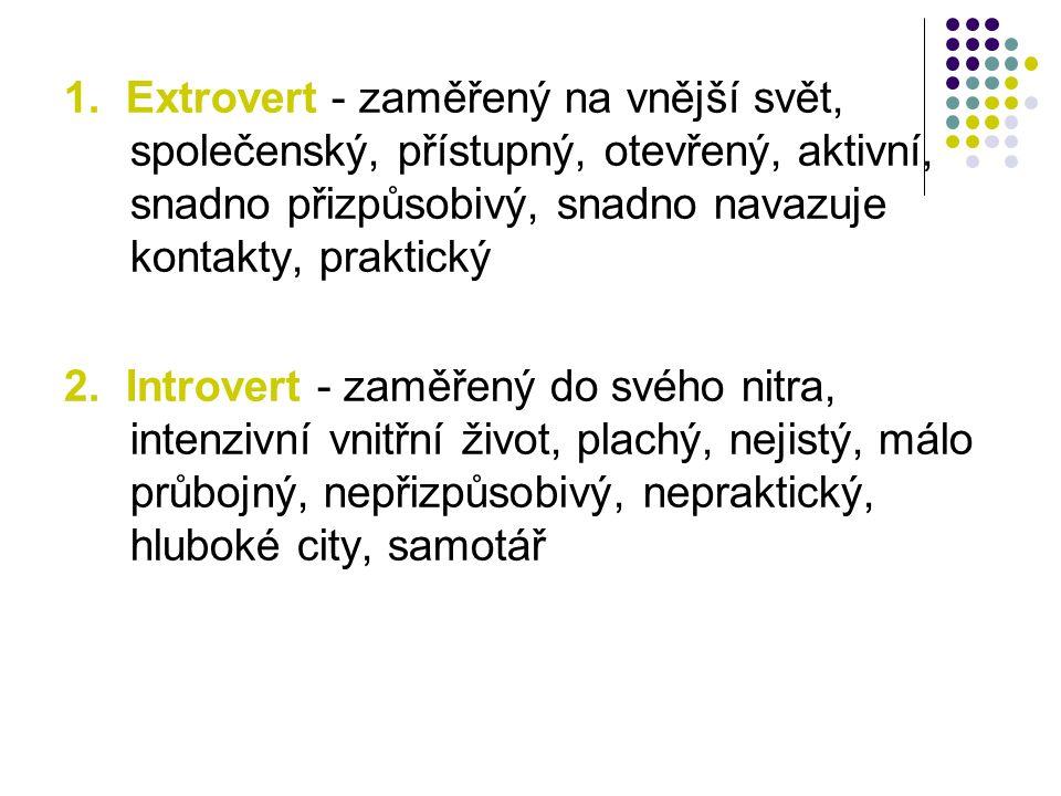 1. Extrovert - zaměřený na vnější svět, společenský, přístupný, otevřený, aktivní, snadno přizpůsobivý, snadno navazuje kontakty, praktický 2. Introve