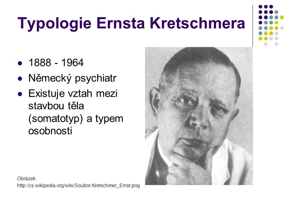 Typologie Ernsta Kretschmera 1888 - 1964 Německý psychiatr Existuje vztah mezi stavbou těla (somatotyp) a typem osobnosti Obrázek: http://cs.wikipedia.org/wiki/Soubor:Kretschmer_Ernst.png