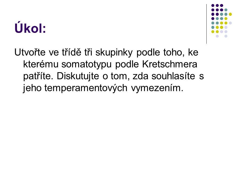 Úkol: Utvořte ve třídě tři skupinky podle toho, ke kterému somatotypu podle Kretschmera patříte.