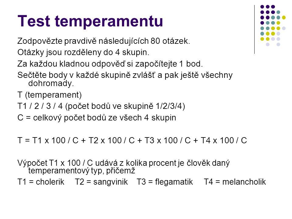 Test temperamentu Zodpovězte pravdivě následujících 80 otázek.