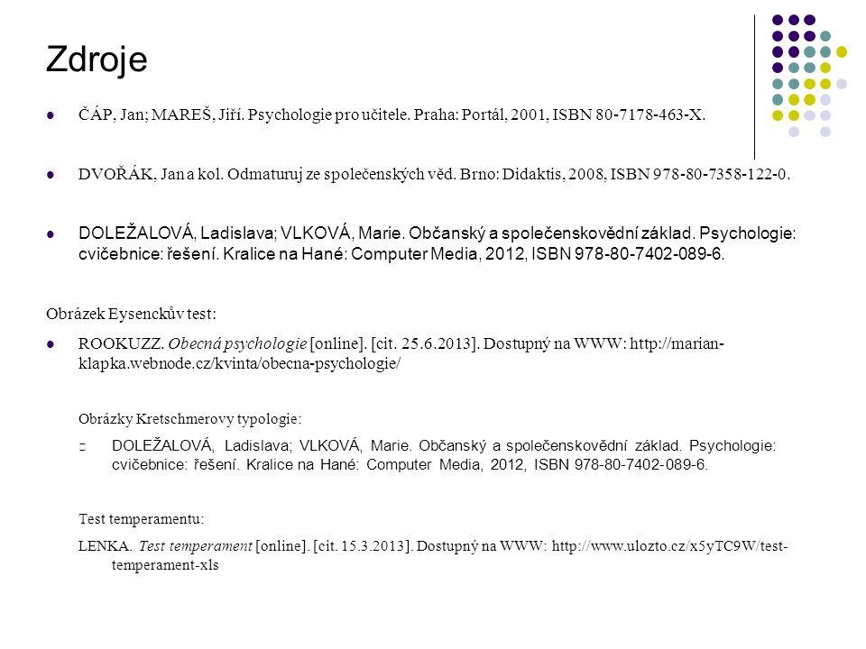 ČÁP, Jan; MAREŠ, Jiří. Psychologie pro učitele. Praha: Portál, 2001, ISBN 80-7178-463-X.