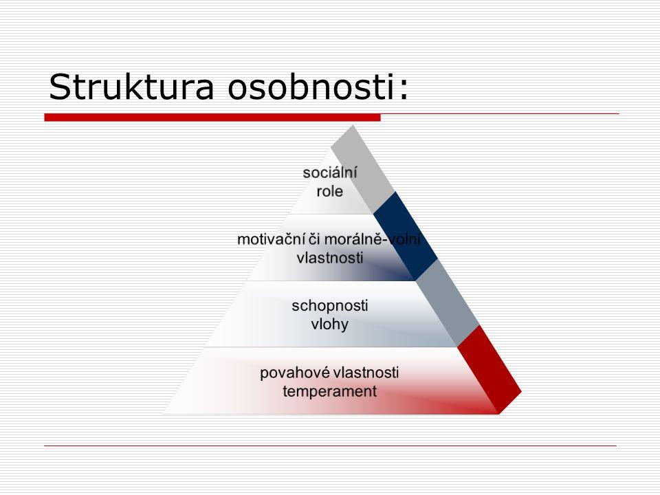 Struktura osobnosti: sociální role motivační či morálně-volní vlastnosti schopnosti vlohy povahové vlastnosti temperament