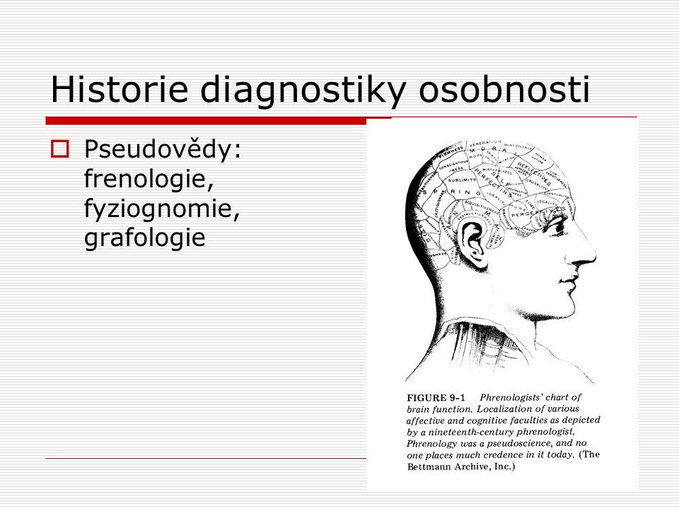 Historie diagnostiky osobnosti  Pseudovědy: frenologie, fyziognomie, grafologie