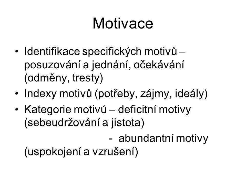 Motivace Identifikace specifických motivů – posuzování a jednání, očekávání (odměny, tresty) Indexy motivů (potřeby, zájmy, ideály) Kategorie motivů – deficitní motivy (sebeudržování a jistota) - abundantní motivy (uspokojení a vzrušení)