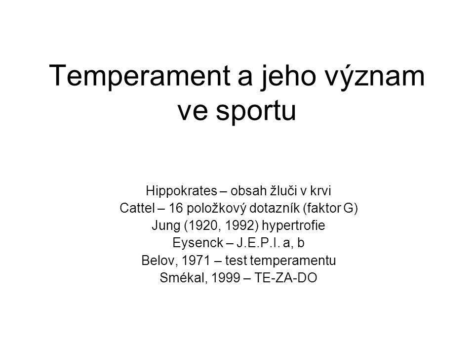 Temperament a jeho význam ve sportu Hippokrates – obsah žluči v krvi Cattel – 16 položkový dotazník (faktor G) Jung (1920, 1992) hypertrofie Eysenck – J.E.P.I.