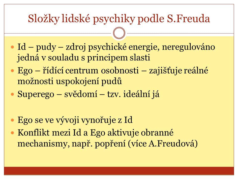 Složky lidské psychiky podle S.Freuda Id – pudy – zdroj psychické energie, neregulováno jedná v souladu s principem slasti Ego – řídící centrum osobnosti – zajišťuje reálné možnosti uspokojení pudů Superego – svědomí – tzv.