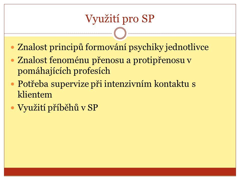Využití pro SP Znalost principů formování psychiky jednotlivce Znalost fenoménu přenosu a protipřenosu v pomáhajících profesích Potřeba supervize při intenzivním kontaktu s klientem Využití příběhů v SP