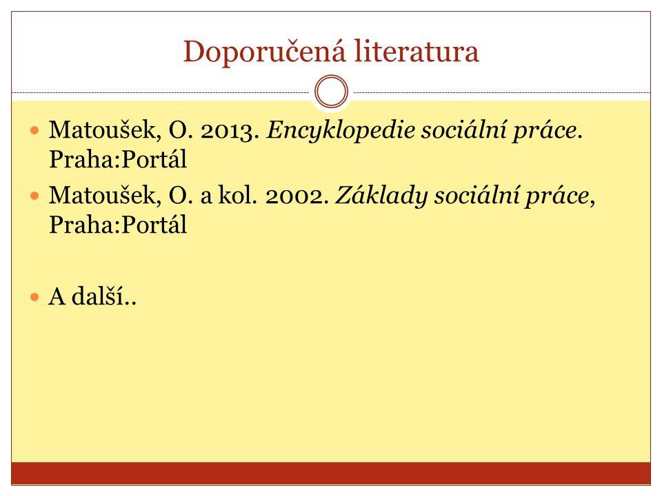Doporučená literatura Matoušek, O.2013. Encyklopedie sociální práce.
