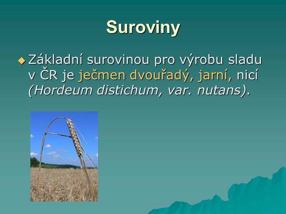 Suroviny  Základní surovinou pro výrobu sladu v ČR je ječmen dvouřadý, jarní, nicí (Hordeum distichum, var.