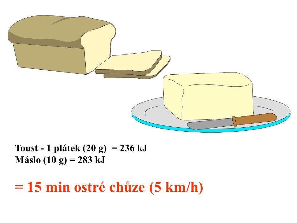 Toust - 1 plátek (20 g) = 236 kJ Máslo (10 g) = 283 kJ = 15 min ostré chůze (5 km/h)